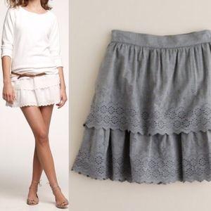 J Crew Eyelet Tiered Lace Ruffle Gathered Mi Skirt